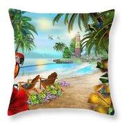 Island Of Palms Throw Pillow