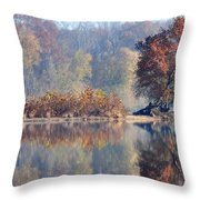 Island Reflected In The Potomac River Throw Pillow