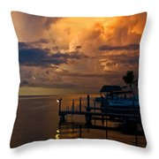 Tropical Island Storm Over Florida Keys Docks Throw Pillow