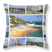 Isle Of Wight Collage - Labelled Throw Pillow