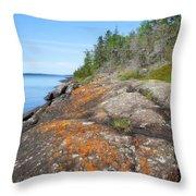 Isle Royale Rocky Shoreline Throw Pillow