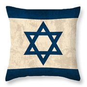 Israel Flag Vintage Distressed Finish Throw Pillow