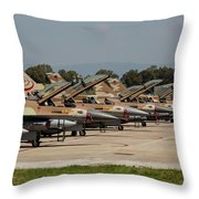 Israeli Air Force F-16`s Of Three Throw Pillow