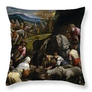 Israelis Drinking The Miraculous Water Throw Pillow