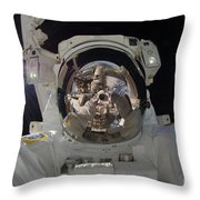 Iss Expedition 32 Spacewalk Throw Pillow by Nasa Jsc