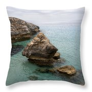 It Rocks 2 - Close To Son Bou Beach And San Tomas Beach Menorca Scupted Rocks And Turquoise Water Throw Pillow