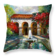 Italian Abbey Garden Scene With Fountain Throw Pillow by Regina Femrite