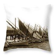 Italian Fishing Boats Fishermen's Wharf San Francisco Circa 1903 Throw Pillow