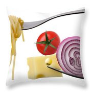 Italian Food Ingredients On Forks Against White Throw Pillow