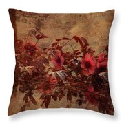 Italian Impasto Style Coral Floral Branch Throw Pillow