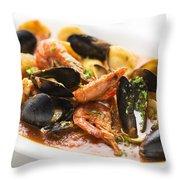 Italian Seafood Stew Throw Pillow