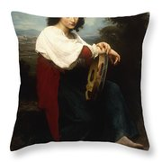 Italian Woman With A Tambourine Throw Pillow by William Adolphe Bouguereau