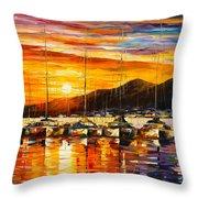 Italy Naples Harbor Throw Pillow
