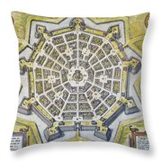 Italy: Palmanova Map, 1598 Throw Pillow