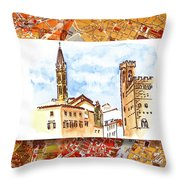 Italy Sketches Florence Towers Throw Pillow