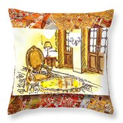 Italy Sketches Hotel Europa Regina Throw Pillow