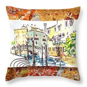 Italy Sketches Venice Canale Throw Pillow