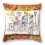 Italy Sketches Venice Two Gondoliers Throw Pillow