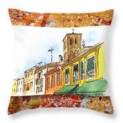 Italy Sketches Venice Via Nuova Throw Pillow