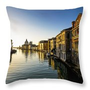 Italy, Venice, Buildings Along Canal Throw Pillow