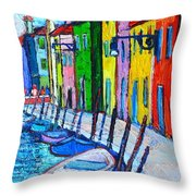 Italy - Venice - Colorful Burano - The Right Side  Throw Pillow