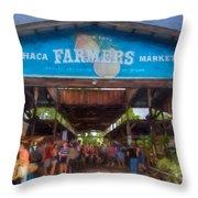 Ithaca Farmer's Market Throw Pillow