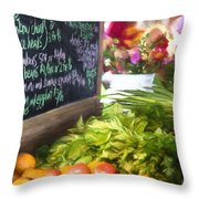 Farmer's Market Produce Stall II Throw Pillow