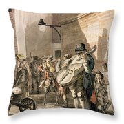Itinerant Musicians Playing In A Poor Throw Pillow