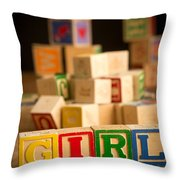 Its A Girl - Alphabet Blocks Throw Pillow