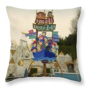 Its A Small World Fantasyland Signage Disneyland Throw Pillow