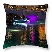 It's Not Venice - Brilliant Lights Glamorous Gondolas And The Magic Of Las Vegas At Night Throw Pillow