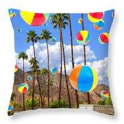 Its Raining Beach Balls Palm Springs Throw Pillow