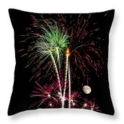 Its Raining Red Drops On The Red Flowers - Fireworks And Moon Throw Pillow
