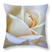 Ivory And Pink Abstract Rose Flower Throw Pillow