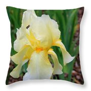 Ivory And White Iris Throw Pillow