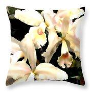 Ivory Cattleya Orchids Throw Pillow