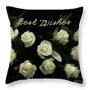 Ivory Roses Greeting  Throw Pillow