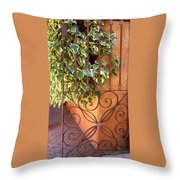 Ivy And Old Iron Gate Throw Pillow