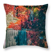 Ivy Covered Barn Throw Pillow