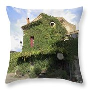Ivy Covered Cottage Throw Pillow