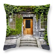 Ivy Covered Doorway - Trinity College Dublin Ireland Throw Pillow