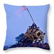 Iwo Jima Memorial At Dusk Throw Pillow
