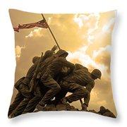 Iwo Jima Memorialized Throw Pillow