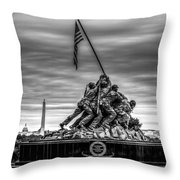 Iwo Jima Monument Black And White Throw Pillow