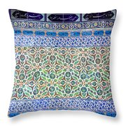 Iznik Ceramics With Floral Design Throw Pillow