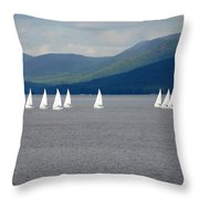 J Boats Lake George N Y Throw Pillow