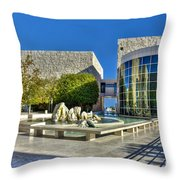J. Paul Getty Museum Courtyard Fountains Blue Veined Marble Boulders Sculpture Throw Pillow