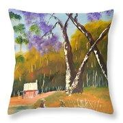 Jacaranda Tree Throw Pillow