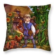 Jack And The Beanstalk By Carol Lawson Throw Pillow