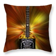 Jack Daniels Whiskey Guitar Throw Pillow